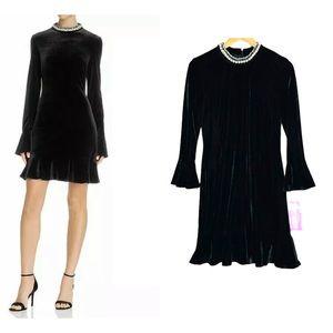 Betsey Johnson Velvet Black Dress Bell Sleeve 6
